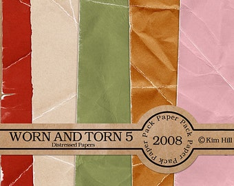 Digital Scrapbook Paper - Worn & Torn Paper Pack 5 - distressed red paper, orange paper, green paper for digital scrapbook layouts