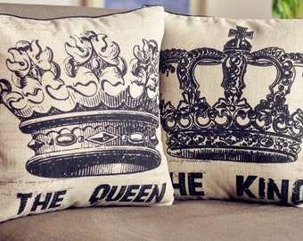 2 pcs The KING and The QUEEN Linen Throw Pillow Case Cushion Cover