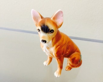 Chihuahua Dog Figurine, Collectible Japan Fine Bone Porcelain Dog