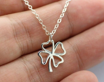 Open FOUR LEAF CLOVER Necklace - 925 Sterling Silver Luck Lucky Shamrock New
