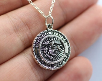United States Marine Corps Charm Necklace - Silver Sempher Fidelis US Marines
