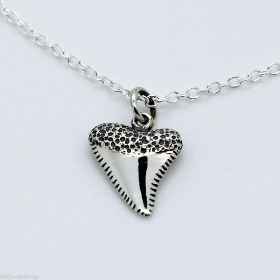 shark tooth necklace 925 sterling silver shark charm pendant