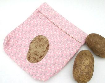 Handmade Quilted Microwave Potato Baking Bag, Pink Calico, Gusset, Bag for Baking Potatoes, Hand Sewn Tortilla Warmer, Corn Cooker