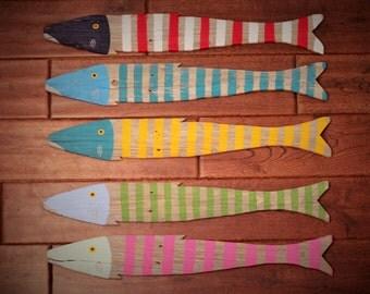 Wooden Fish Nautical Fish Decor - Reclaimed Fish - Reclaimed Picket Fence Fish - Wood Fish