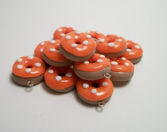 Lot 20 Donuts in fimo and CERN fluorescent orange donut well-made charms