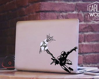Macbook sticker/ Vinyl decal/ Spiderman and Apple decal