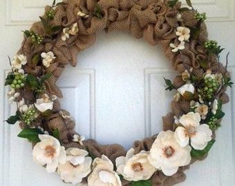 Burlap,Dogwood and Magnolia Wreath Spring, summer,fall