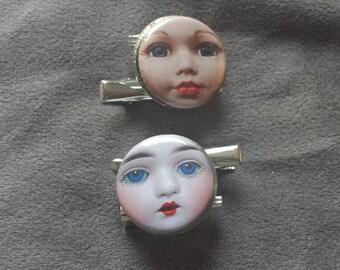 vintage doll face brooch/hair clip