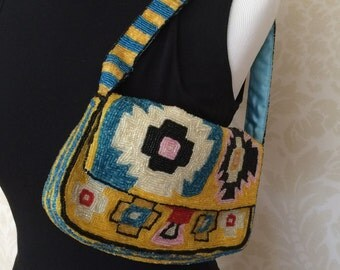 Beaded Christiana Handbag in a Native American Design Handmade in India