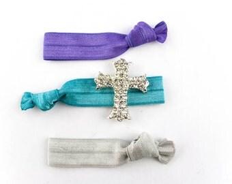 Large Cross Hair Tie Set - 3 Rhinestone and Elastic Hair Ties that Double as Bracelets