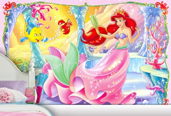 Little mermaid wall mural wallpaper wall d cor wall decal for Disney ariel wall mural