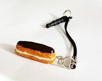 French Eclair Phone Charm - Headphone Jack Plug - Polymer Clay Food Jewelry - Miniature Food Jewelry