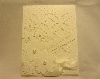 All White Flower and Pearl Anniversary Card