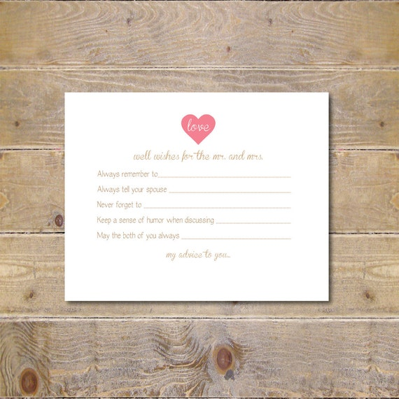 Well Wishes Advice Card Wedding Guestbook By SweetSophieDigitals