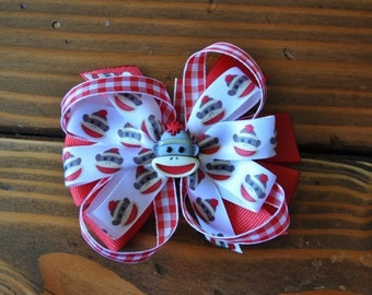 Sock Monkey Inspired Stacked Boutique Hair Bow.