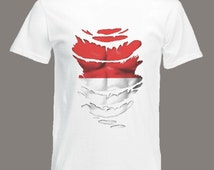 Indonesia Flag T-Shirt see Muscles through Ripped T-Shirt in all sizes