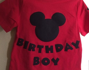 Hand Appliquéd Mouse Birthday Boy Shirt