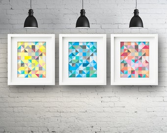 Set of 3 Geometric Pattern PRINTABLE Wall Art Bedroom Lounge Poster Print Blue Pastel Pink Yellow Grey Triangles Instant Digital Download