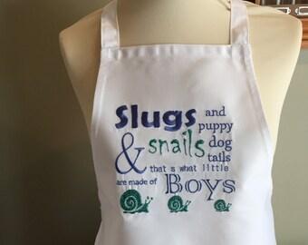 Childrens Apron Handmade embroidered Slugs & Snails apron children's gift humor personalised