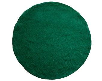 One-Tone Deep Green Round Felt Rug