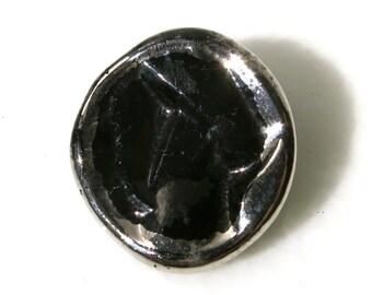 VINTAGE BLACK GLASS button - Silver edged black glass button from France from France