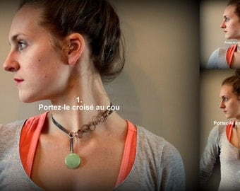 Simple long necklace, 3 ways, handmade in Quebec, with pendent made out of recycled blown glass from Iles de la Madeleine