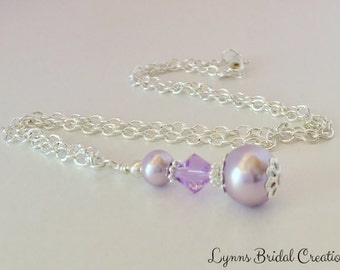 Purple Pearl Bridesmaid Necklace Crystal Necklace Purple Crystal Wedding Jewelry Bridesmaid Gift Jewelry Set Purple Pendant Pearl Necklace