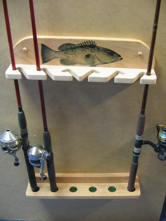Wall Mount 6 Pole Fishing Rod Rack