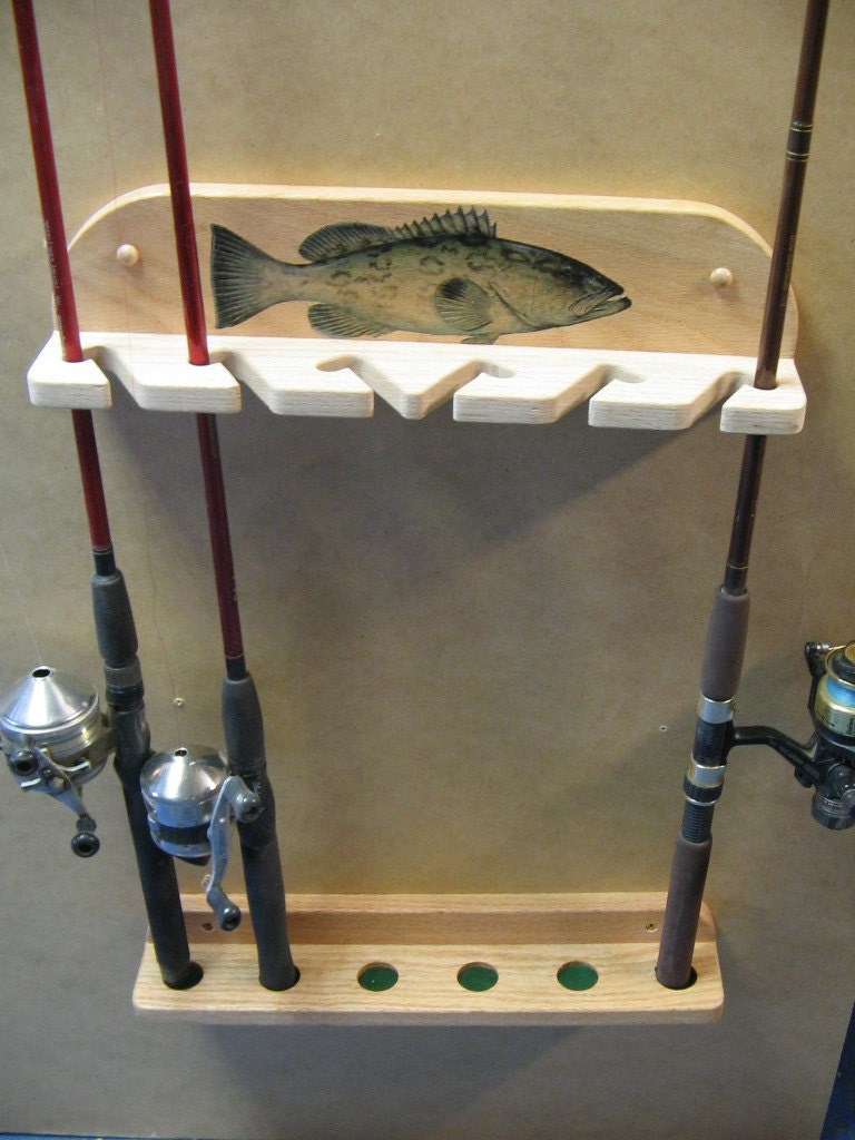 Wall mount 6 pole fishing rod rack for Fishing rod rack