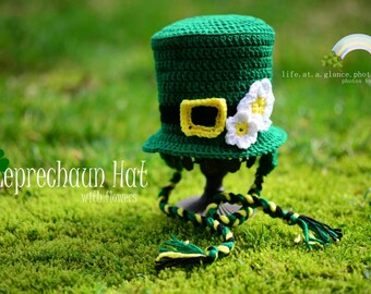 St. Patrick's Day Leprechaun Crochet Top Hat, For Dogs Too, Photo Prop