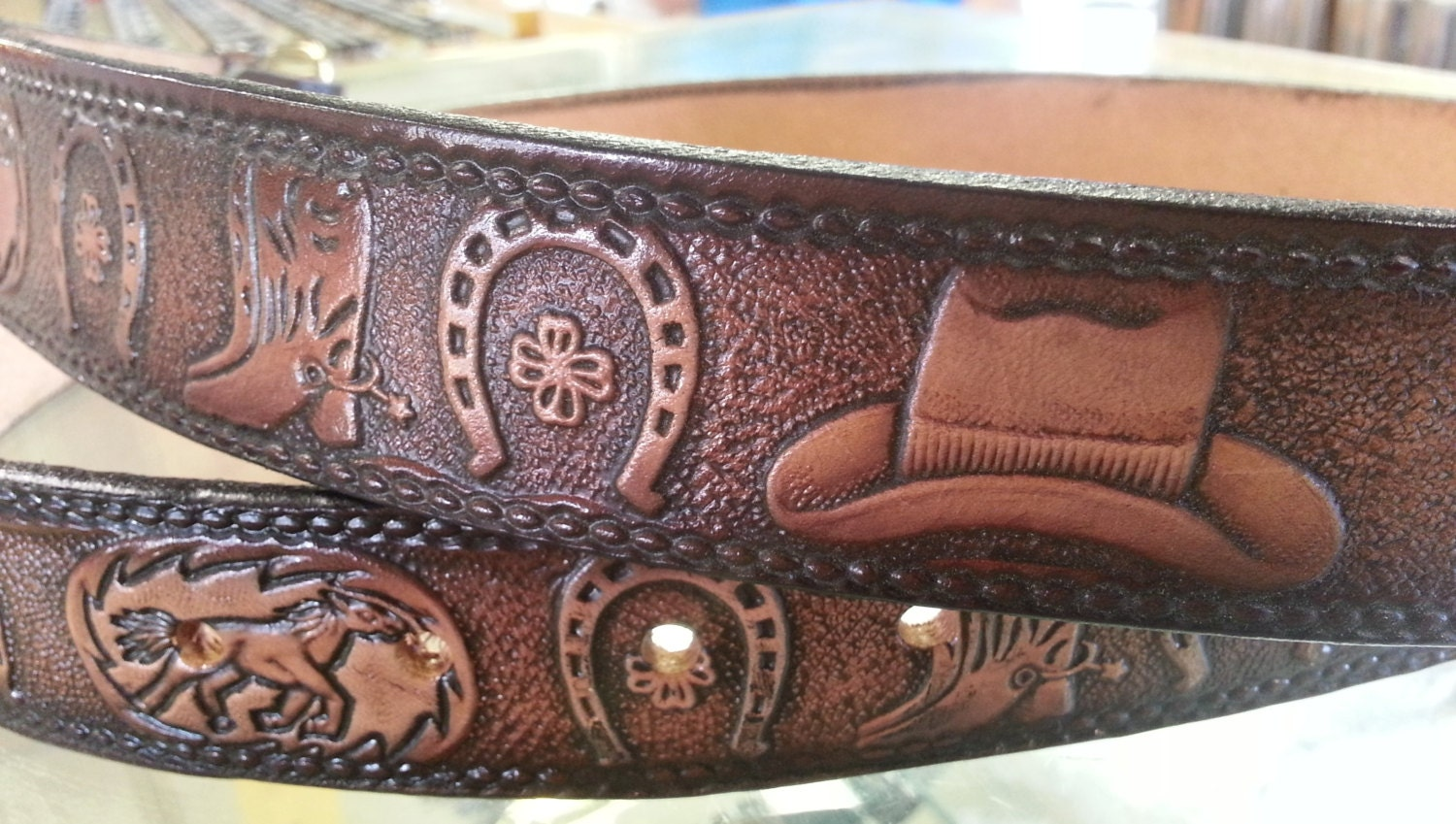 western theme design leather belt personalize by