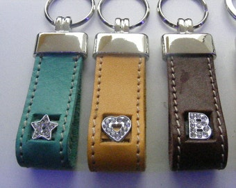INITIAL KEY RING and symbols with strasskeychain with rhinestone initials