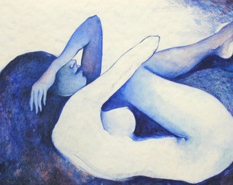 Print nude female blue-Blood ether water Watercolour