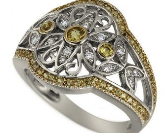 Floral Design Yellow Sapphire And Diamond Antique Ring