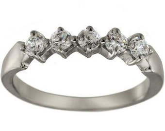 Diamond Wedding Band With 0.50 Carat Of Diamonds In 14K White Gold