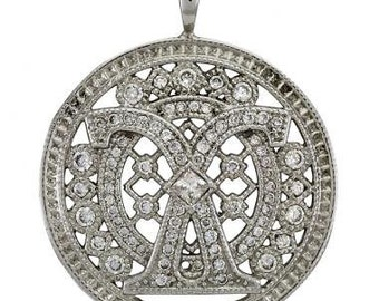 Circular Necklace In 14k White Gold With A Victorian Style And Milgrain Accents