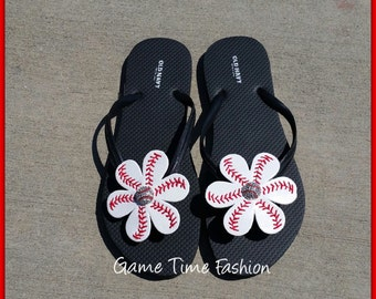 Baseball Flip Flops with Rhinestone Centers Flip Flops INCLUDED! Adult and Child Sizes Available