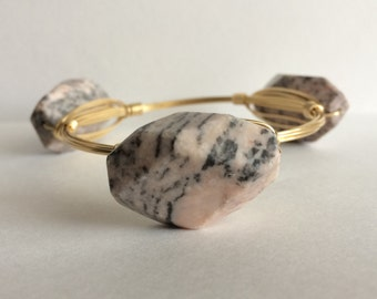 Pink and Black Marbled Stone Wire Wrapped Bangle