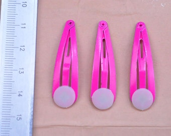 20pcs snap hair clips with a glue on pad children's colorful hair clip hot pink metal hair clip about 1.5 inches