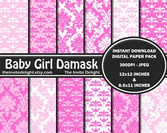 Baby Girl Damask Digital Paper Pack, Pink and White Damask, Baby Shower Party Decor Printable, Scrapbooking Paper, Instant Download