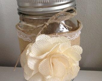 Burlap covered mason jar
