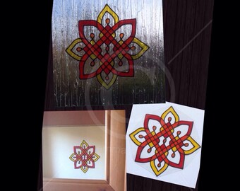 Window cling red, yellow and orange pattern, hand painted for glass & mirror surfaces, faux stained glass static cling decal