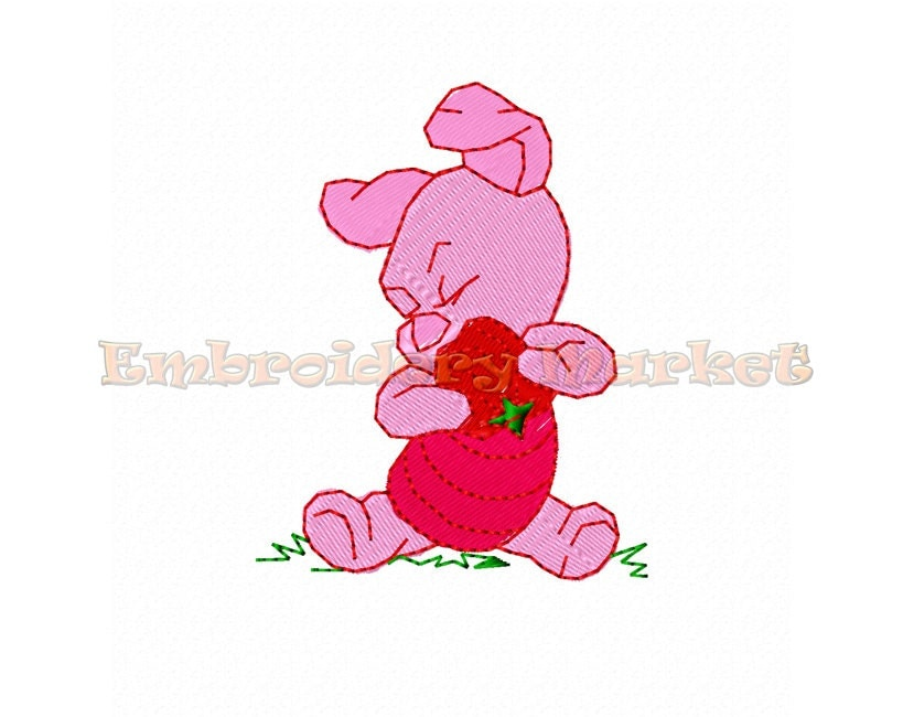 Piglet and heart fill stitch embroidery design instant