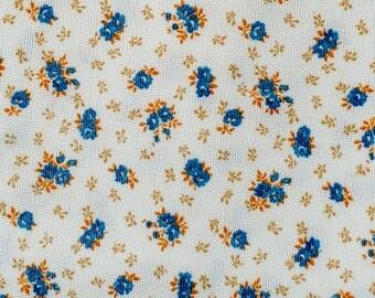 Floral Orange and Blue Retro Fabric