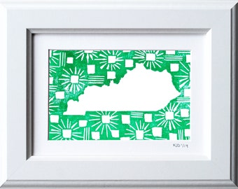 State of Kentucky Patterned Block Print with Customizable Heart on City-- Limited Edition Linocut Print, Framed Artwork