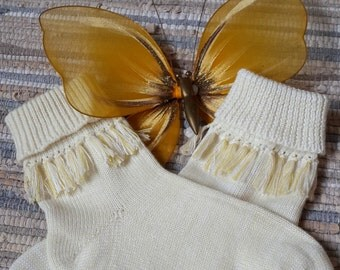 Hand made knitted wool socks with fringe - free shipping worldwide