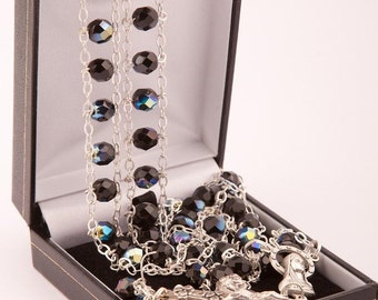 Black Glass Bead Ladder Rosary. Our Lady Stairway to Heaven Rosary Beads. Extra Strong Rosary Beads