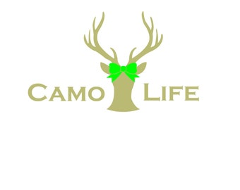 Camo Life with Green Bow