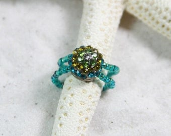 TEAL SPARKLE Beaded Toe rings