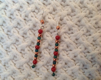 Copper turquoise and burnt orange earrings